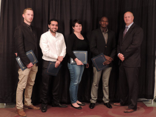 Kwame (2nd Right) and winners in the other categories posing with the Chair of the Judging Panel, Dr. Reno Pontarollo (Right), CEO & President, Genome Prarie