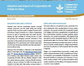 Adoption and impact of Cooperation-88 Potato in China.